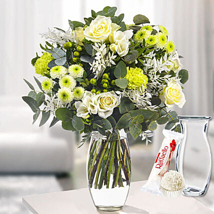 Flower Bouquet Pure Freude With Vase And Ferrero Raffaello:Send Mixed Flowers To Germany