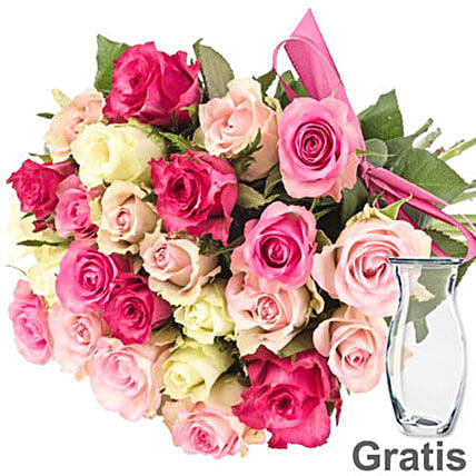 Fresh Pink And White Pastel Rose Bunch
