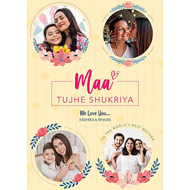 Personalised Maa Tujhe Shukriya Digital Collage:Mothers Day Gifts Germany