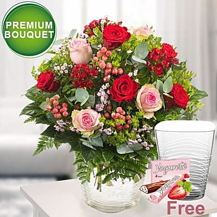 Premium Bouquet Fireworks With Premium Vase And Ferrero Yogurette