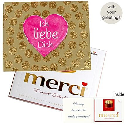 Personal Greeting Card With Merci Ich Liebe Dich 250G