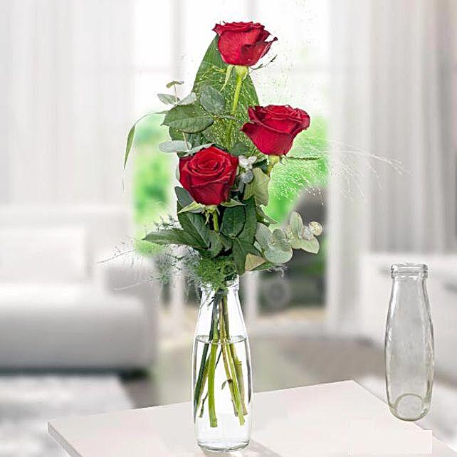 Rose Trio Serenade With Vase
