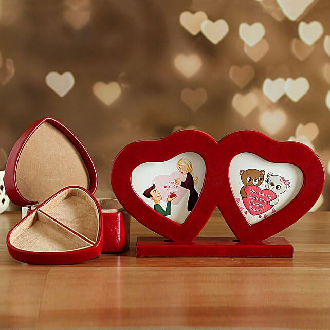 Couple Heart Photo Frame And Jewellery Box