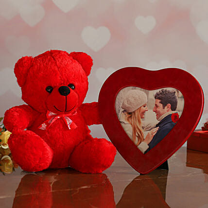 Red Heart Photo Frame And Cute Teddy:Send Gifts to Her in Germany