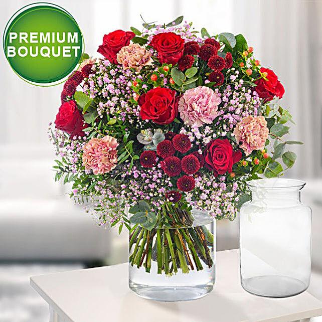 Premium Bouquet Liebesfeuer With Premium Vase