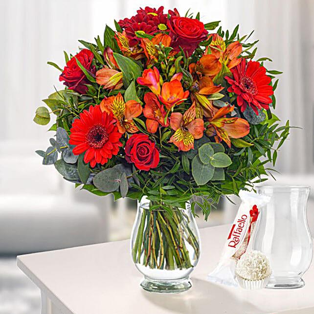 Flower Bouquet Blumensymphonie With Vase And Ferrero Raffaello