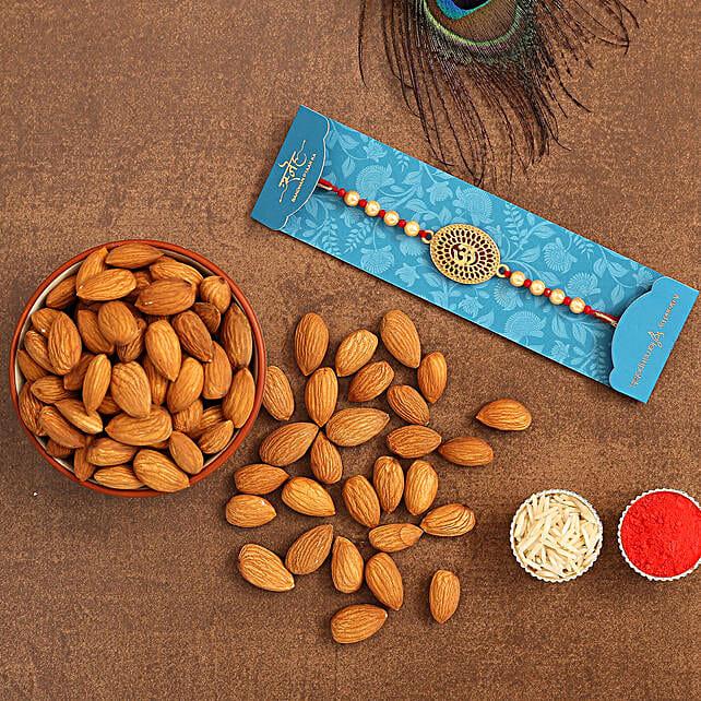 Spiritual Om Pearl Rakhi And Healthy Almonds