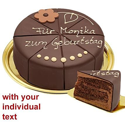 Wonderful Dessert Sacher Cake With An Individual Text