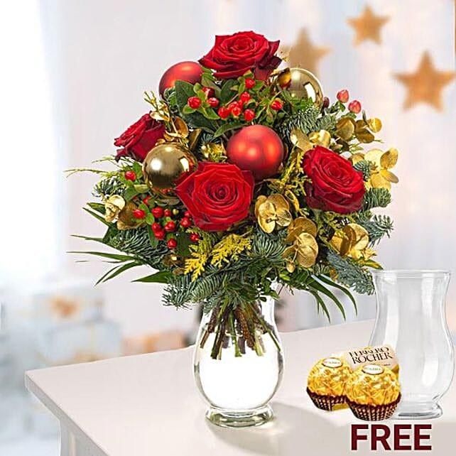 Xmas Flower Arrangement With Rocher