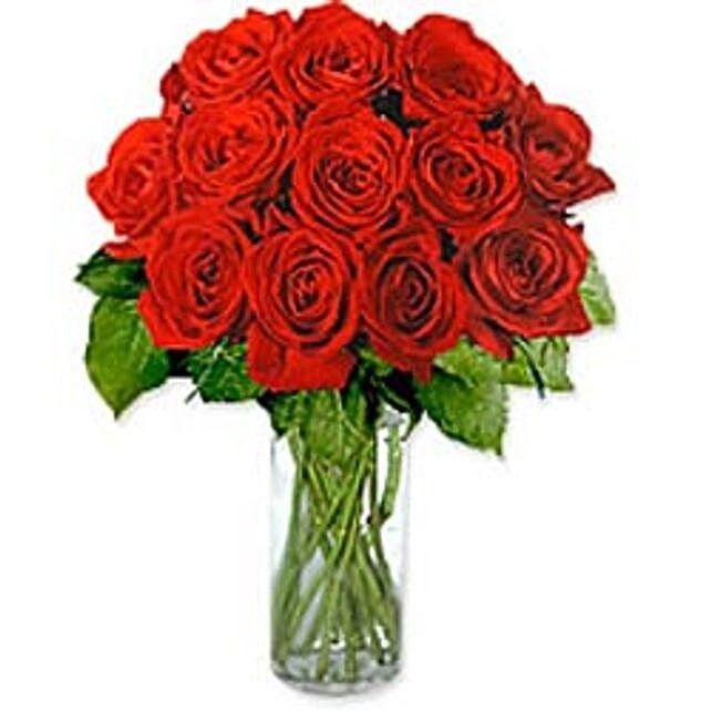 Dozen Roses in a Vase-Gre
