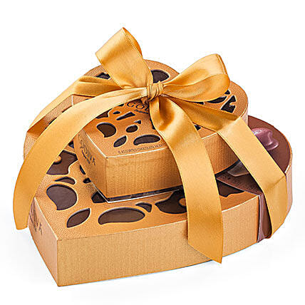 Dual Exotic Heart Chocolate Boxes:Send Gifts to Greece