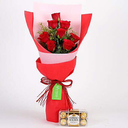 8 Red Roses With Ferrero Rocher Combo:Send Valentine's Day Flowers to Indonesia