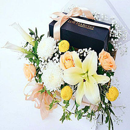 Cake And Flowers Hamper