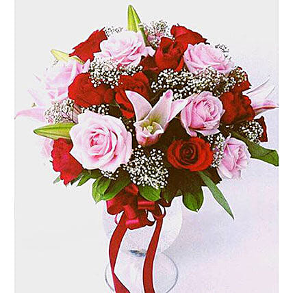 Elegant Mixed Roses Vase Arrangement:Lilies to Indonesia