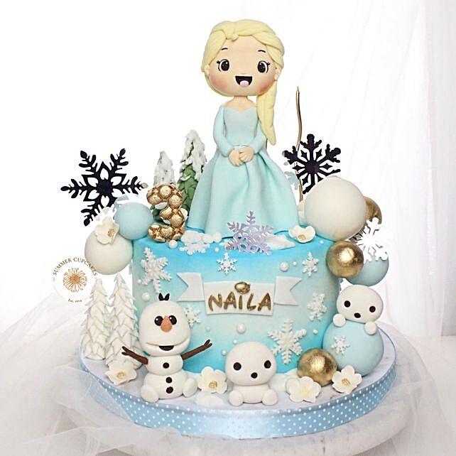 Frozen Fondant Blackforest Cake:Send Birthday Gifts to Indonesia