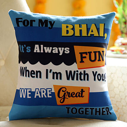 Online Printed Cushion For Brother:Send Bhai Dooj Gifts to Indonesia