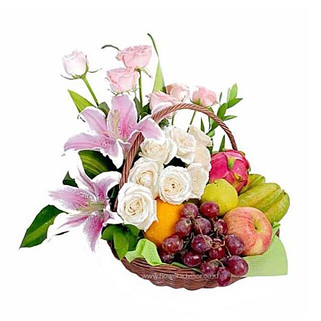 Handpicked Floral And Fruit Basket