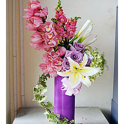 Mixed Flowers Glass Vase Arrangement