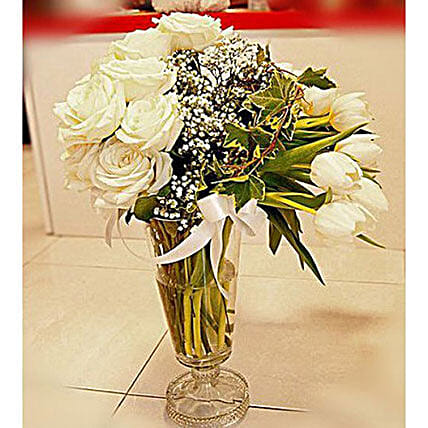 Peaceful Tulips Vase Arrangement:Order Lilies in Indonesia