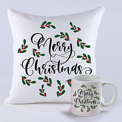 Pretty Merry Christmas Cushion And Mug:Christmas Gift Delivery in Indonesia