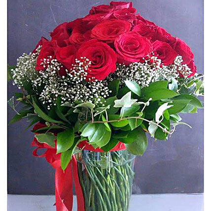 Ravishing Red Roses Vase Arrangement:Order Lilies in Indonesia