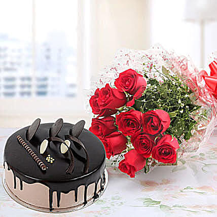 Red Roses And Chocolate Cake Combo