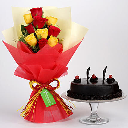 Red Yellow Roses With Truffle Cake:Send Anniversary Gifts to Indonesia