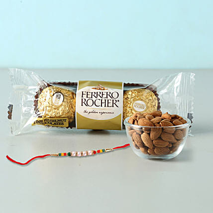 Rocher And Almonds With Designer Rakhi