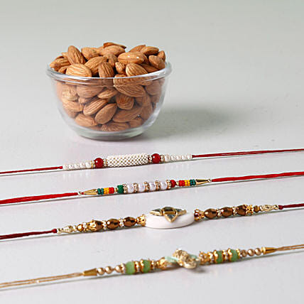 Set Of 4 Rakhis And Almonds Combo