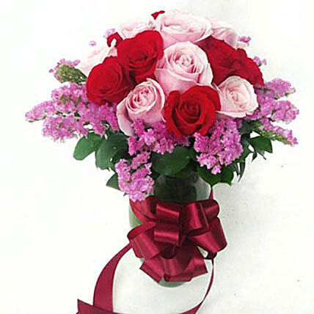 15 Mixed Colour Roses Arrangement