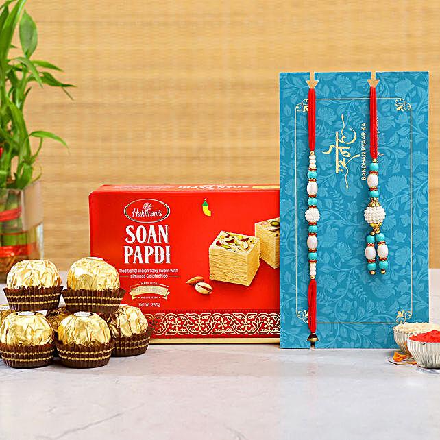 Lumba Rakhi Set And Soan Papdi With 16 Pcs Ferrero Rocher