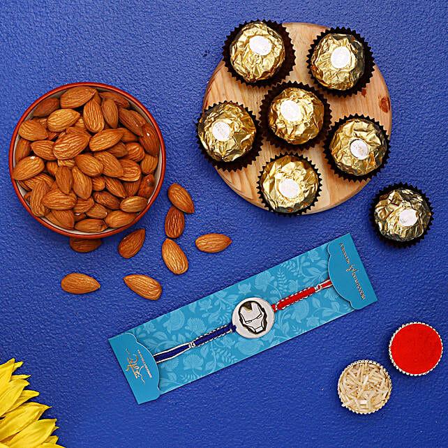 Ironman Kids Rakhi With Almonds And Ferrero Rocher