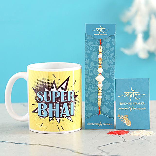White Pearl Rakhi And Super Bhai Mug Combo