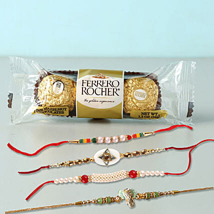 Yummy Rocher And 4 Rakhis Combo