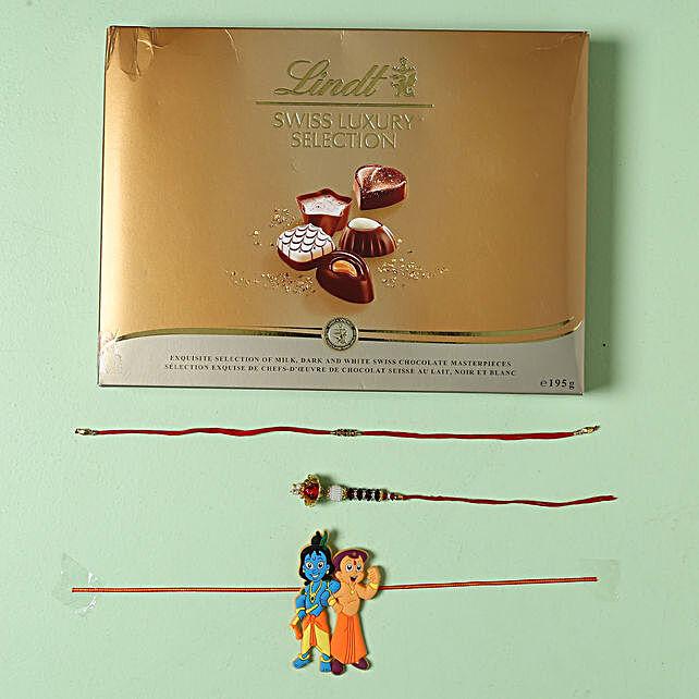 Family Rakhi set with Lindt Finest Swiss Chocolates