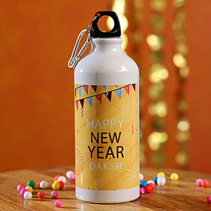 Festive Happy New Year Personalised Bottle:Send Gifts to Ireland