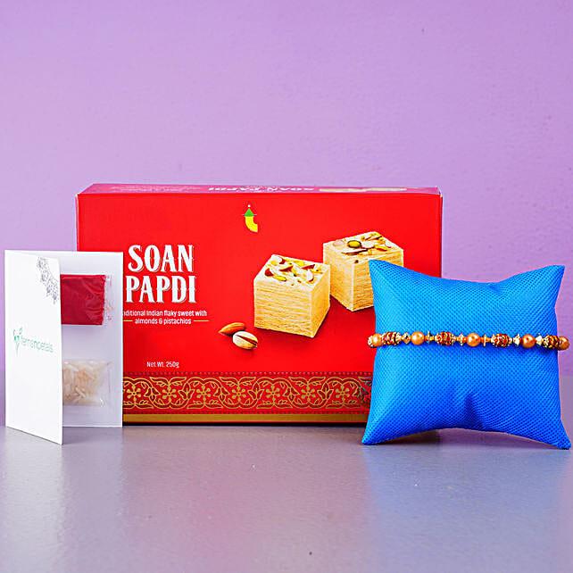 Golden Red Thread Rakhi And Soan Papdi