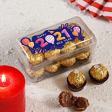 New Year Printed Ferrero Rocher Box 16 Pcs:Gift Delivery in Ireland