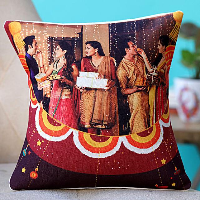 happy diwali with photo printed cushion