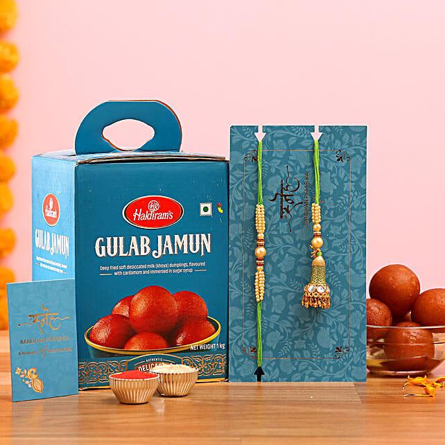 Green Pearl Lumba Rakhi Set And Gulab Jamun