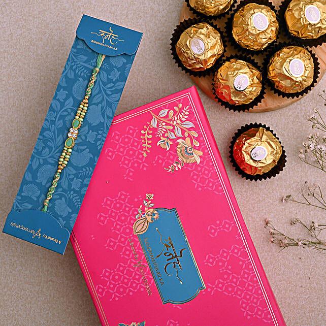 Green Pearl Designer Rakhi And 3 Pcs Ferrero Rocher
