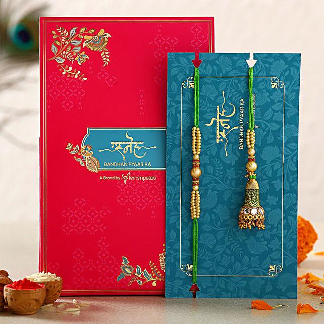 Green Pearl And Lumba Rakhi