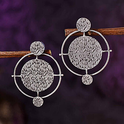 Contemporary Round Silver Oxidised Earrings:New Arrival Gifts Ireland
