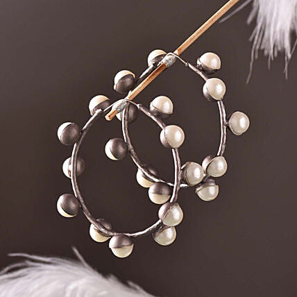 Glass Coated Button Shaped Pearl Earrings