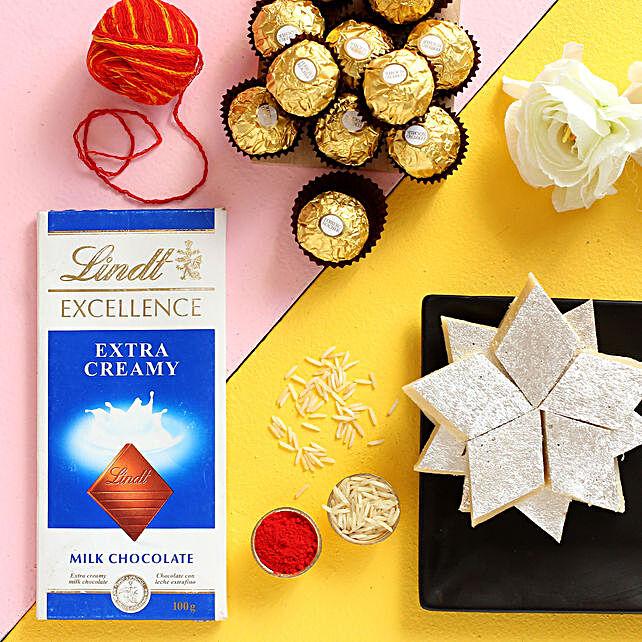 Bhai Dooj Greetings Kaju Katli And Chocolates Combo:Bhai Dooj Gifts to Ireland