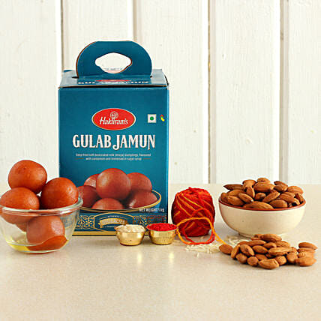 Bhai Dooj Wishes Gulab Jamun And Almonds Combo