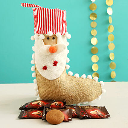 Dark Fantasy Choco Fills In Cute Santa Stocking:Christmas Gift Delivery in Jordan