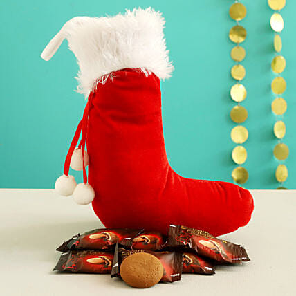 Dark Fantasy Choco Fills In Furry Red Xmas Stocking:Christmas Gift Delivery in Jordan