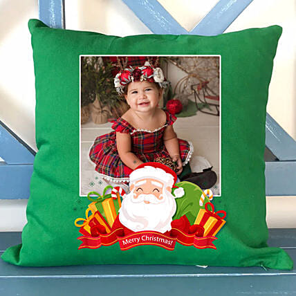 Personalised Xmas Wishes Green Cushion