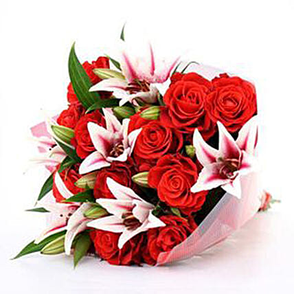 Beautiful Bunch Of Stargazers And Roses